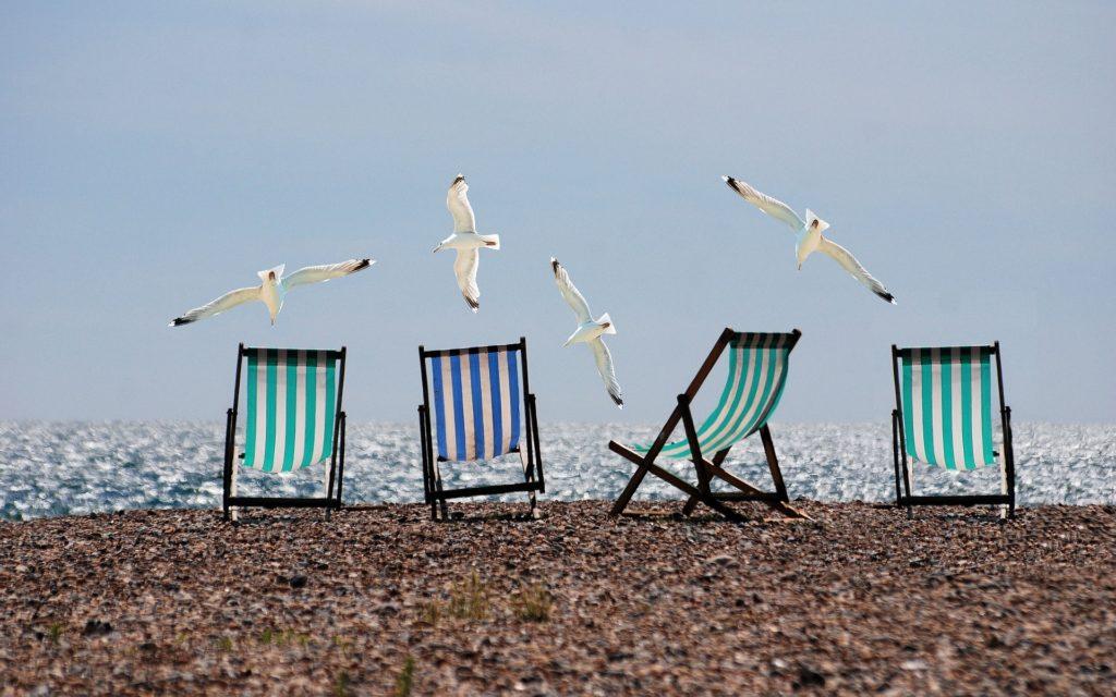 telas vichy en la playa